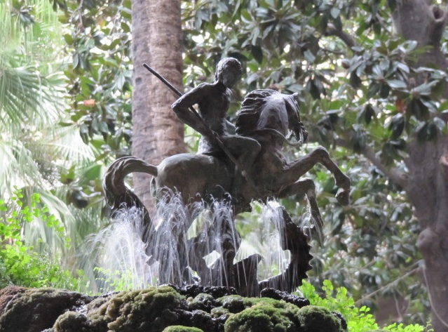 St George and the Dragon fountain in the cloister